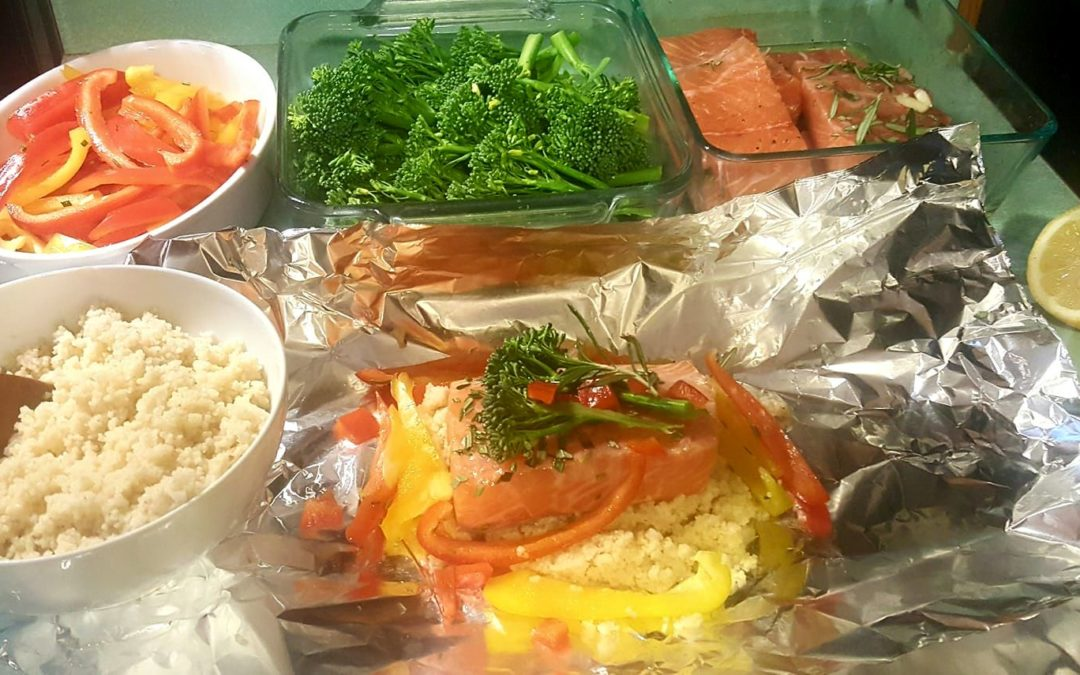 Easy Salmon, couscous and veggie recipe