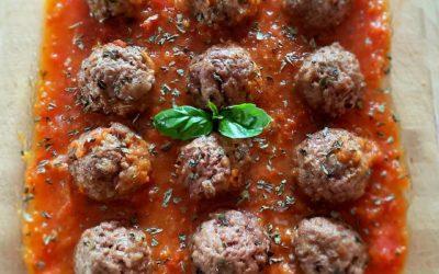 Meatballs with homemade tomato sauce!