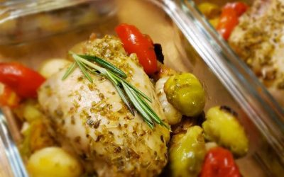Sheet-pan Mediterranean Chicken and Brussel Sprouts!