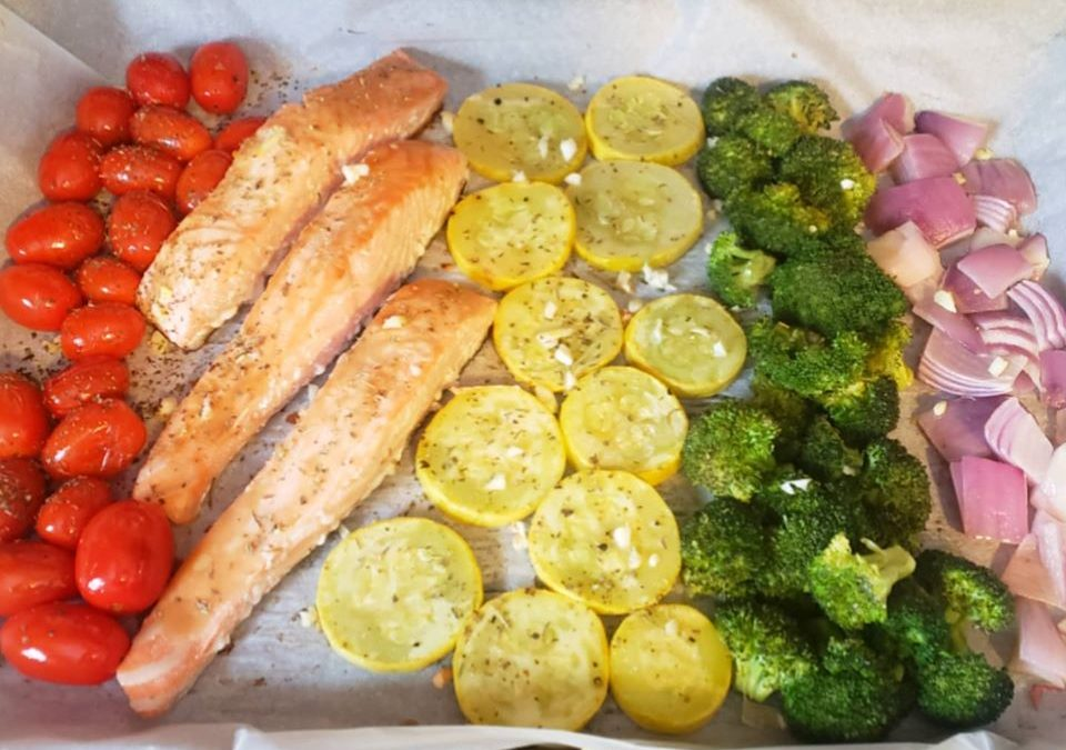 Sheet Pan Salmon with Veggies!